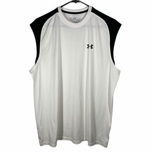 Under Armour White Black Crew Neck Muscle Tank L
